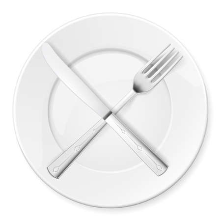 dinning table: Fork, Knife and plate isolated on white background