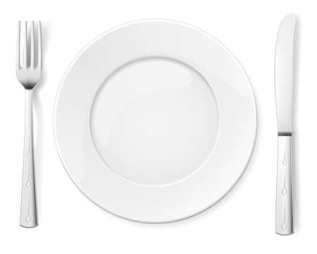 settings: Empty plate with knife and fork. Illustration for design on white background Illustration