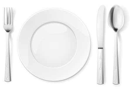 Empty plate with spoon, knife and fork. Illustration for design on white background Stock Vector - 14447595