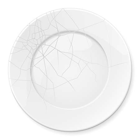 breakage: Broken Plate. Illustration for design on white background