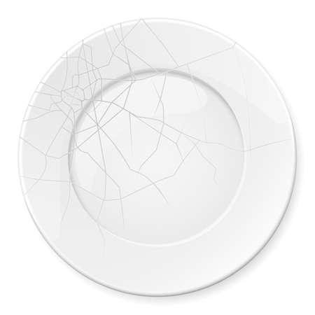 breakage: Broken Plate. Illustration for design on white background