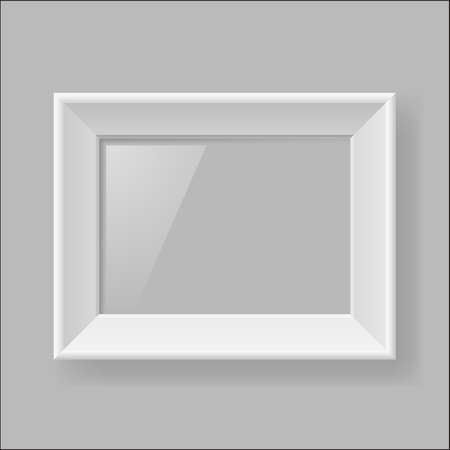 Blank white frame hanging on gray wall Vector