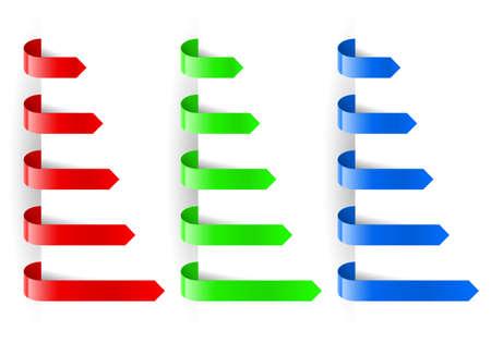 cintillos: Flechas de color del papel de marcador. Ilustración para el diseño sobre fondo blanco Vectores
