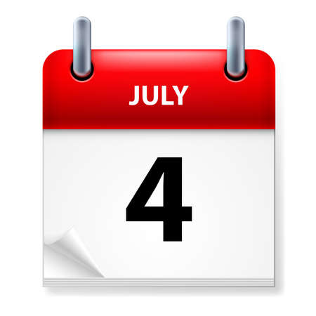 july calendar: Fourth July in Calendar icon on white background