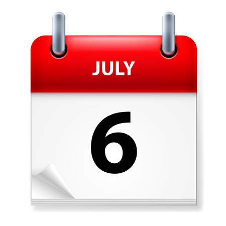 sixth: Sixth July in Calendar icon on white background Illustration