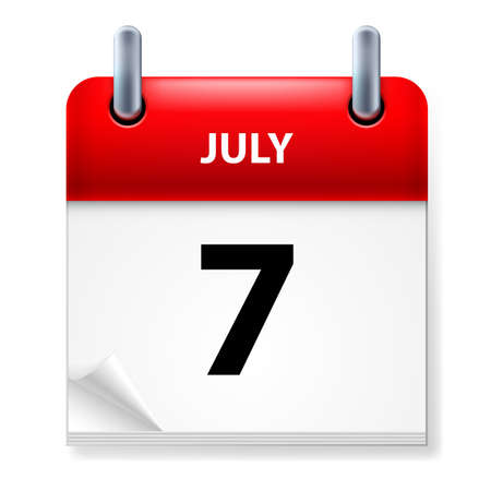 seventh: Seventh July in Calendar icon on white background