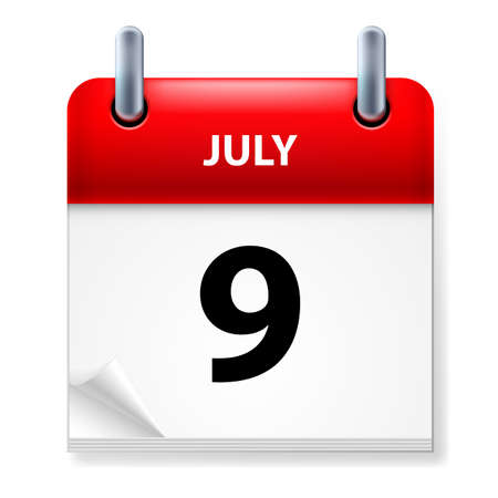 ninth: Ninth July in Calendar icon on white background Illustration