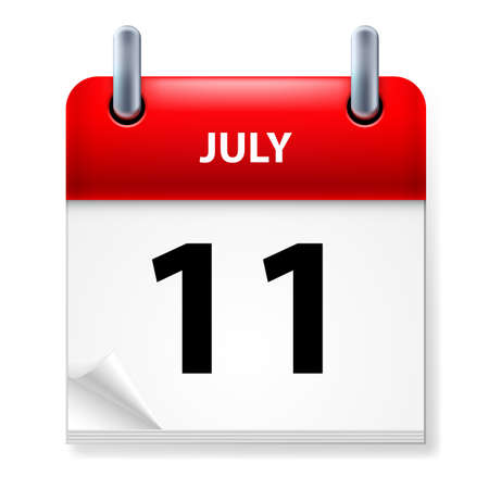 eleventh: Eleventh July in Calendar icon on white background
