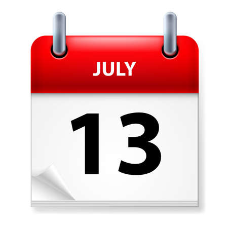 Thirteenth July in Calendar icon on white background Vector