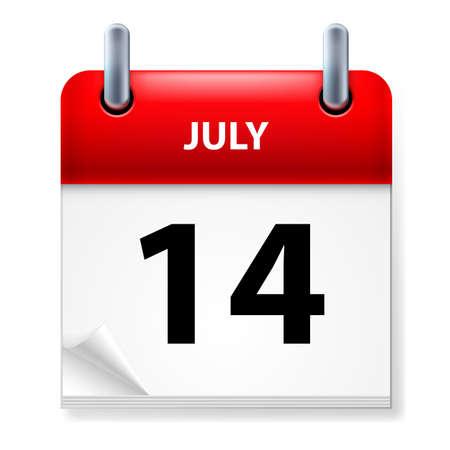 fourteenth: Fourteenth July in Calendar icon on white background Illustration