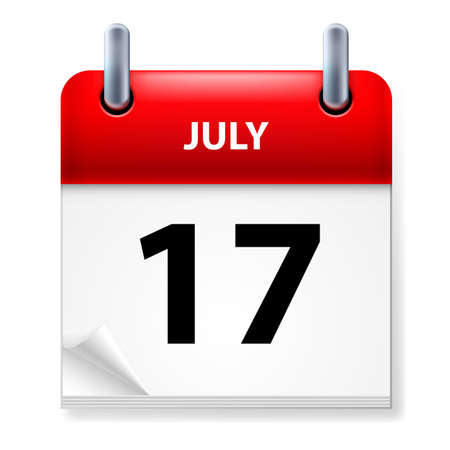 seventeenth: Seventeenth July in Calendar icon on white background