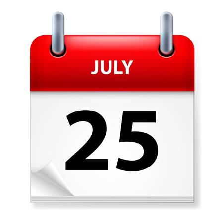 Twenty-fifth July in Calendar icon on white background Stock Vector - 14447585
