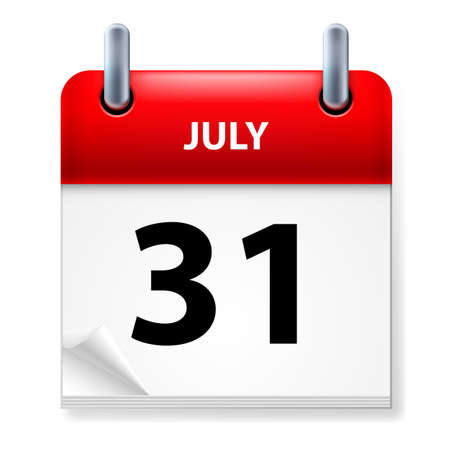 Thirty-first July in Calendar icon on white background Stock Vector - 14447619