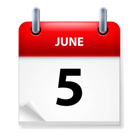 fifth: Fifth June in Calendar icon on white background Illustration