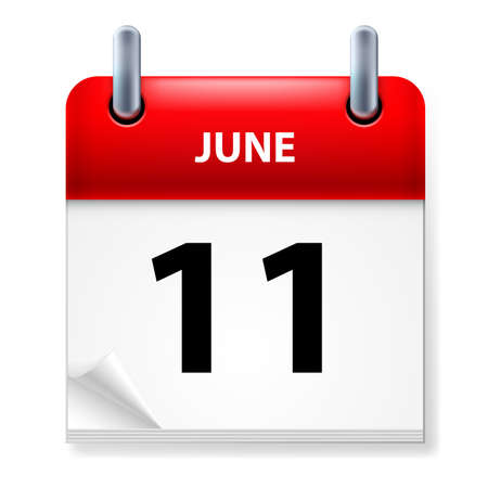 eleventh:  Eleventh June in Calendar icon on white background