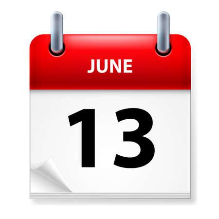 Thirteenth June in Calendar icon on white background Vector