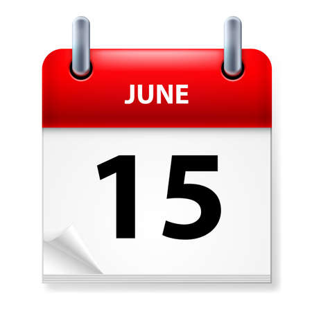 reminder icon: Fifteenth June in Calendar icon on white background