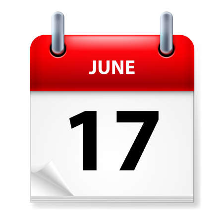seventeenth: Seventeenth June in Calendar icon on white background
