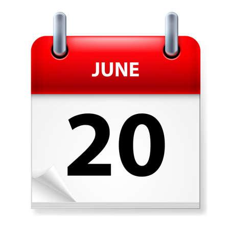 twentieth: Twentieth June in Calendar icon on white background