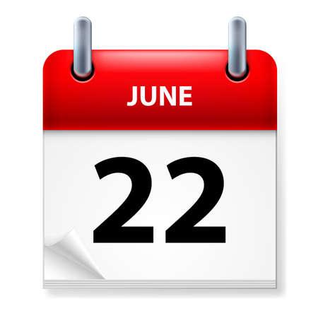 Twenty-second June in Calendar icon on white background Illustration
