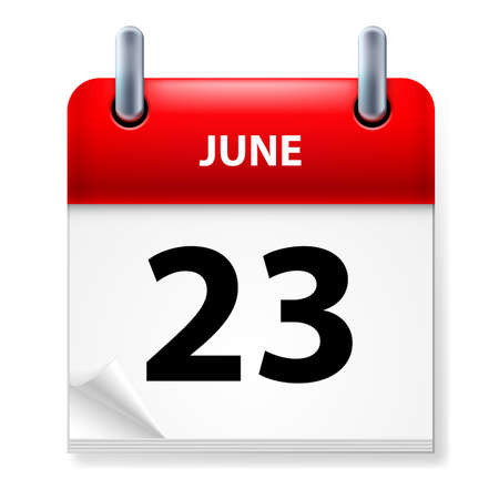 june: Twenty-third June in Calendar icon on white background