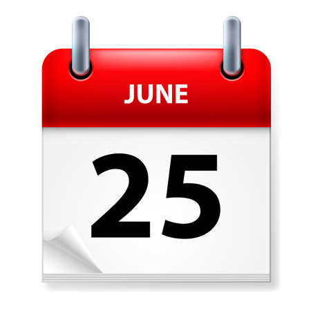 Twenty-fifth June in Calendar icon on white background