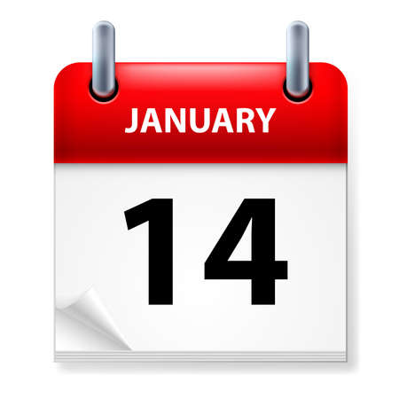 fourteenth: Fourteenth January in Calendar icon on white background