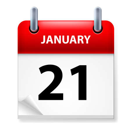 Twenty-first January in Calendar icon on white background Stock Vector - 14495281