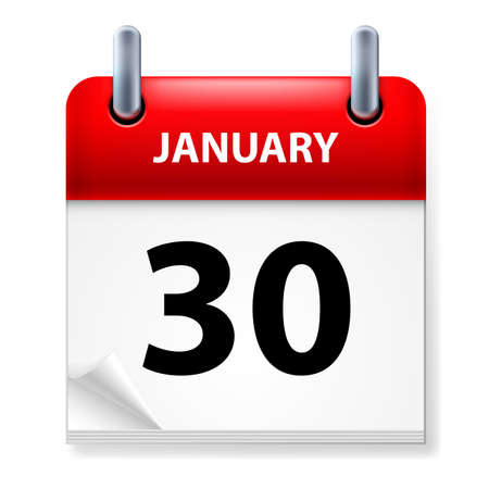 meeting agenda: Thirtieth January in Calendar icon on white background