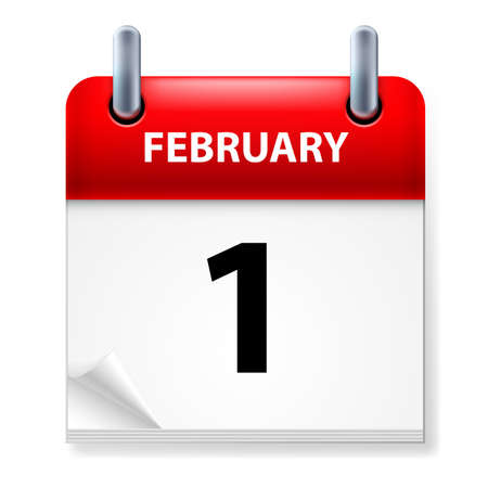 meeting agenda: First February in Calendar icon on white background