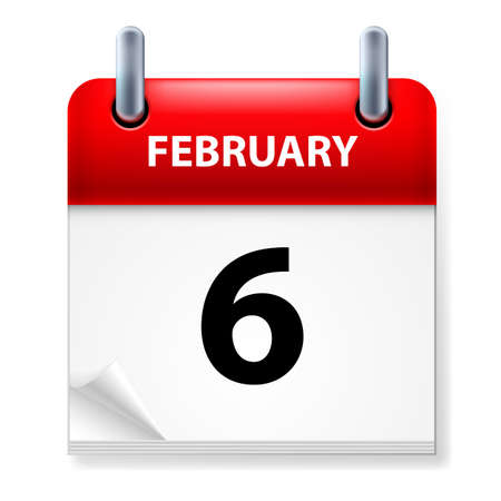 sixth: Sixth February in Calendar icon on white background