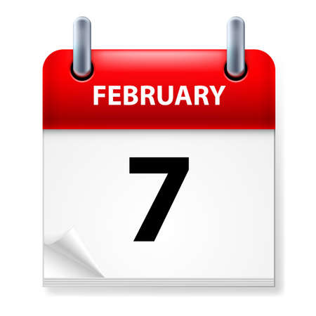 Seventh February in Calendar icon on white background Stock Vector - 14495263
