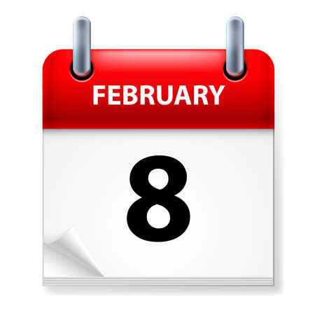 eighth: Eighth February in Calendar icon on white background