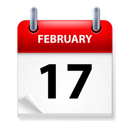seventeenth: Seventeenth February in Calendar icon on white background