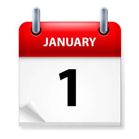 Primero de enero en el icono Calendario en el fondo blanco
