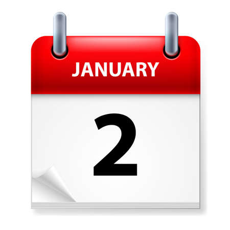 Second January in Calendar icon on white background Stock Vector - 14495287