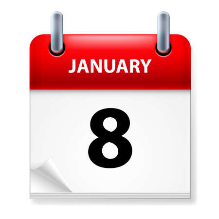 eighth: Eighth January in Calendar icon on white background Illustration