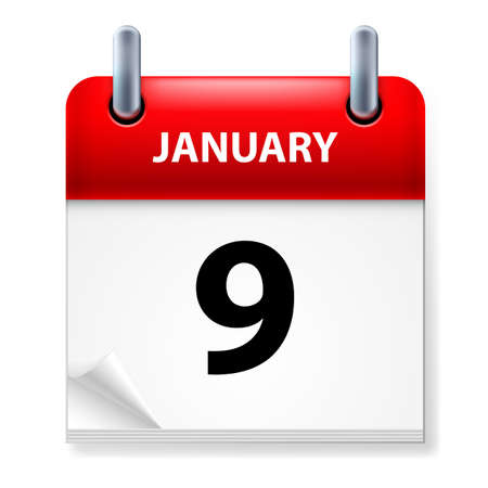 ninth: Ninth January in Calendar icon on white background Illustration