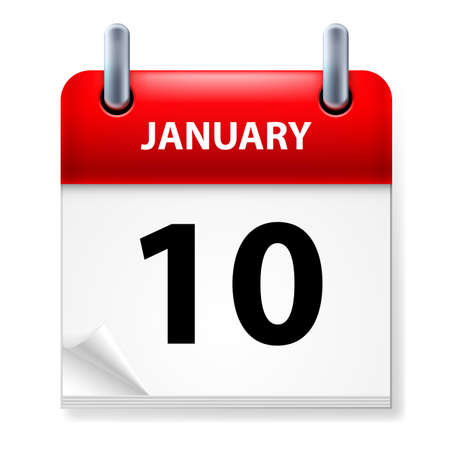 Tenth January in Calendar icon on white background Stock Vector - 14495285