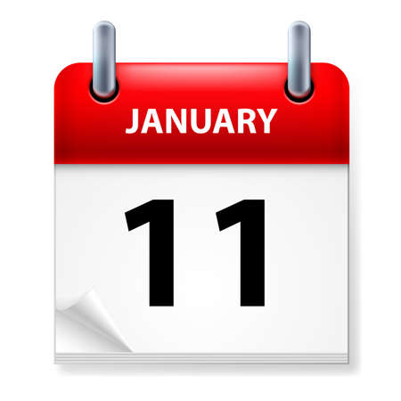 eleventh: Eleventh January in Calendar icon on white background Illustration