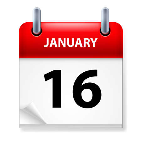 sixteenth: Sixteenth January in Calendar icon on white background Illustration