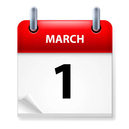 calendar icon: First March in Calendar icon on white background Illustration