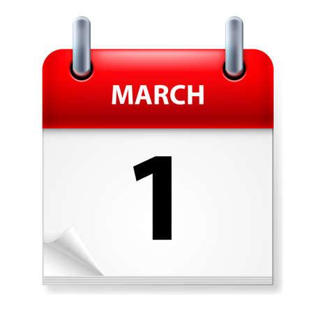 meses del a�o: Primero de marzo en el calendario icono en el fondo blanco Vectores