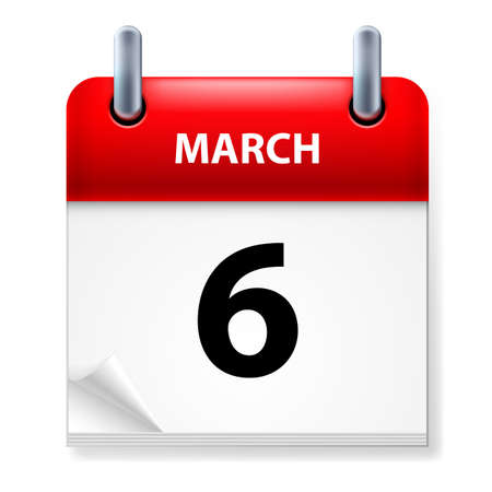 sixth: Sixth March in Calendar icon on white background