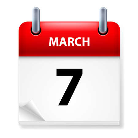 Seventh March in Calendar icon on white background Stock Vector - 14495286