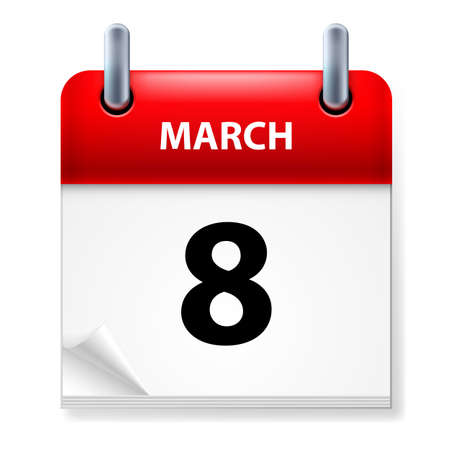 eighth: Eighth March in Calendar icon on white background Illustration
