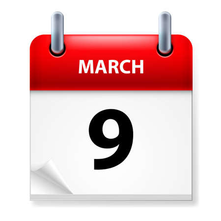 ninth: Ninth March in Calendar icon on white background