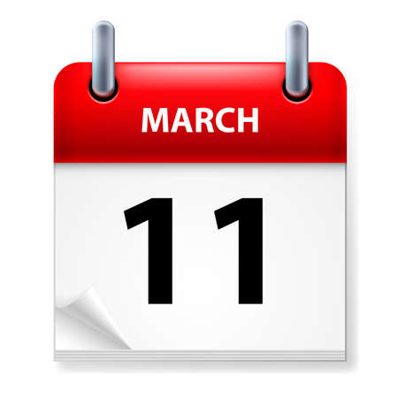 eleventh: Eleventh March in Calendar icon on white background