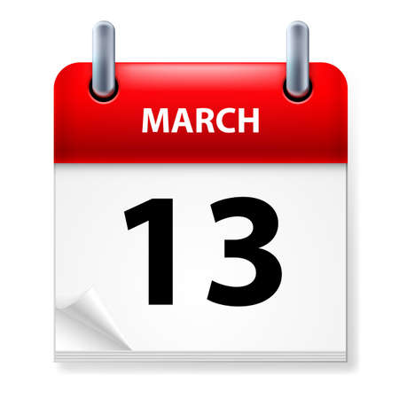 Thirteenth March in Calendar icon on white background Vector