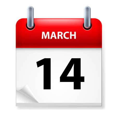 fourteenth: Fourteenth March in Calendar icon on white background